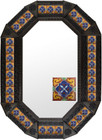 octagonal metal tin frame decorated with mexican fabricated tile