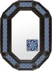 Metal mirror old European octagonal frame with tiles