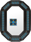 octagonal metal tin frame decorated with mexican hand made tile