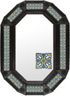 octagonal metal tin frame decorated with mexican hand crafted  tile