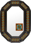 octagonal metal tin frame decorated with mexican manufactured tile