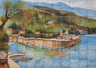 old port wall tile mural