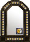mexican colonial antique tin mirror