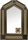 tin mirror with coffee arch frame and Rustica House tile