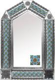 tin mirror with hacienda tiles