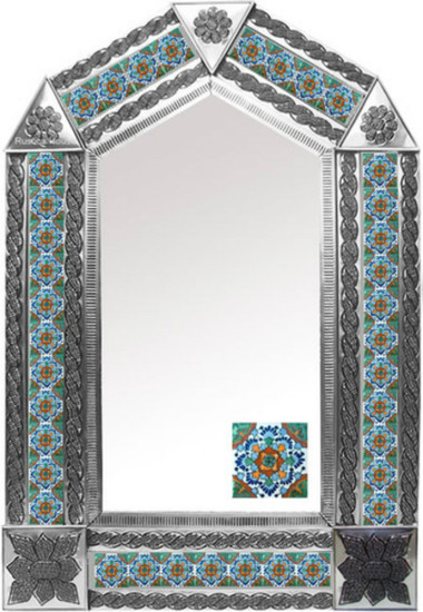 tin mirror with hacienda tiles