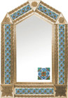 tin mirror with copper frame and hacienda tile