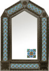 tin mirror with coffee arch frame and hacienda tile