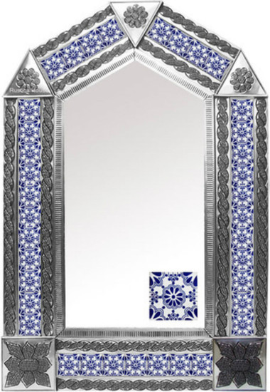 tin mirror with old European tiles