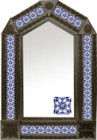 tin mirror with coffee arch frame and old European tile