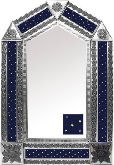 tin mirror with mexican manufactured tiles