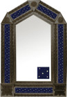 tin mirror with coffee arch frame and mexican manufactured tile