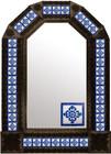 mexican tin mirror with rustica dark frame