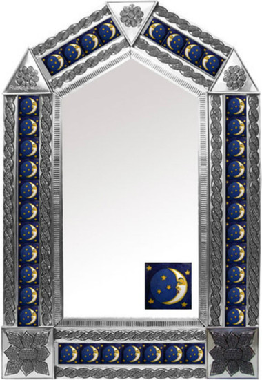 tin mirror with mexican fabricated tiles
