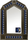tin mirror with coffee arch frame and mexican fabricated tile