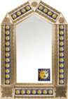 tin mirror with copper frame with mexican old world tile