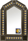 tin mirror with coffee arch frame and mexican old world tile