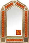 tin mirror with copper frame with mexican Spanish tile