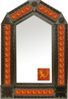 tin mirror with coffee arch frame and mexican Spanish tile