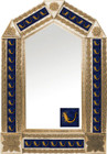 tin mirror with copper frame and folk art tile