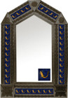 tin mirror with coffee arch frame and folk art tile