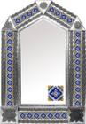 tin mirror with mexican old European tiles