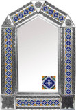 tin mirror with mexican old European tiles