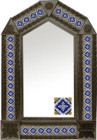 tin mirror with coffee arch frame and mexican old European tile