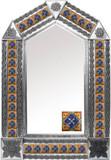 tin mirror with mexican hacienda tiles