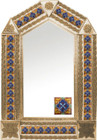 tin mirror with copper frame with mexican hacienda tile