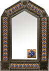 tin mirror with coffee arch frame and mexican hacienda tile