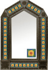 tin mirror with coffee arch frame and mexican San Miguel de Allende tile