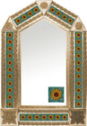 tin mirror with copper frame with mexican Rustica House tile
