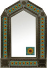 tin mirror with coffee arch frame and mexican Rustica House tile