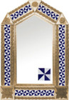 tin mirror with copper frame with Mexican tile