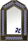 tin mirror with coffee arch frame and Mexican tile