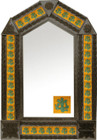 tin mirror with coffee arch frame and mexican colonial tile