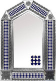 tin mirror with rustic tiles