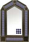 tin mirror with coffee arch frame and rustic tile