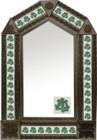 tin mirror with coffee arch frame and mexican traditional tile