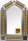 tin mirror with mexican folk art tiles