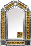 tin mirror with mexican folk art tiles
