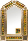tin mirror with copper frame with mexican folk art tile