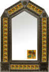 tin mirror with coffee arch frame and mexican folk art tile