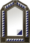 tin mirror with coffee arch frame and mexican classic colonial tile