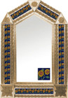 tin mirror with copper frame with mexican Guanajuato tile