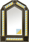 tin mirror with coffee arch frame and mexican colonial hacienda tile