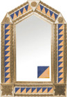 tin mirror with copper frame and modern tile