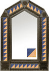 tin mirror with coffee arch frame and modern tile