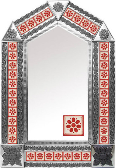 tin mirror with manufactured tiles
